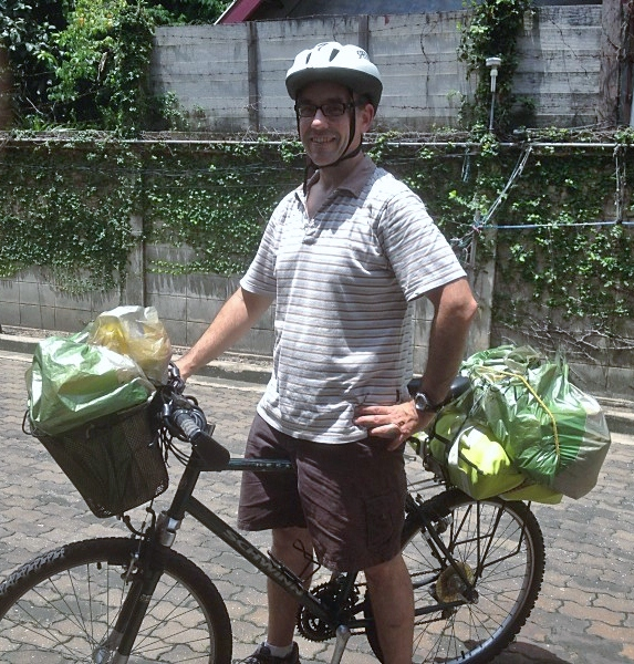 Leon on one of his infamous Bangkok grocery runs. He cracked this bike frame -- twice.